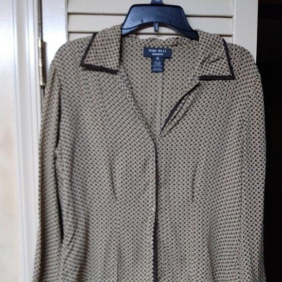 Nine West Dresses & Skirts - Nine West Brown Paid 100% Silk Suit Set